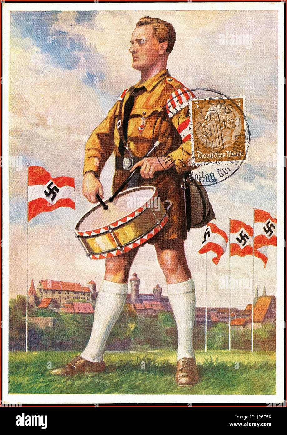 NAZI PROPAGANDA NUREMBERG RALLIES Pre-War 1937 Nazi Reich Party Day Propaganda Card, illustrating Hitler youth drummer on parade ground, stamp affixed dated Nurnberg 14.9.37 - Stock Image
