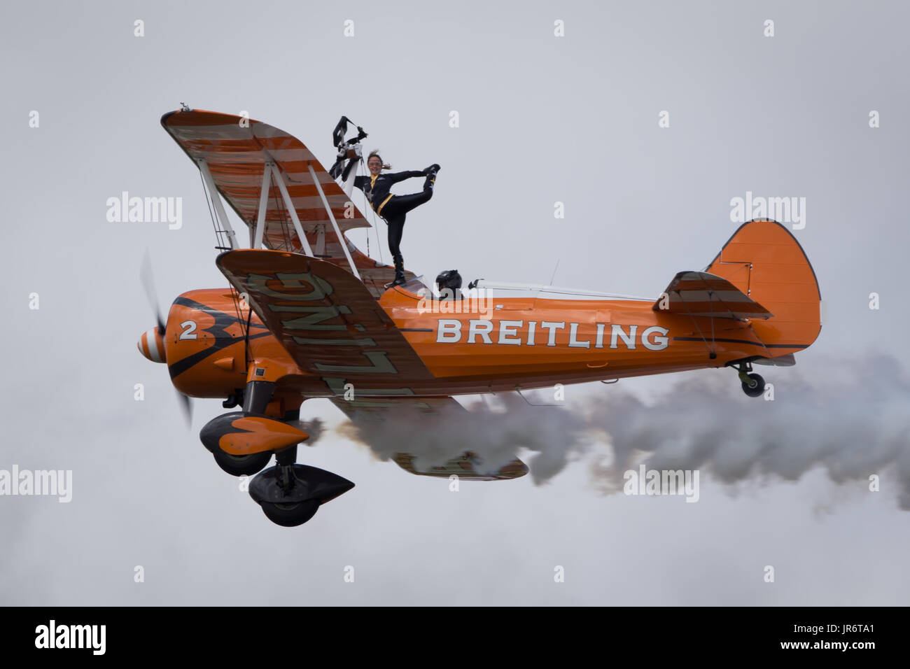Fairford, Gloucestershire, UK - July 10th, 2016: AeroSuperBatics Breitling Stearman Wing Walking Formation Display Team - Stock Image