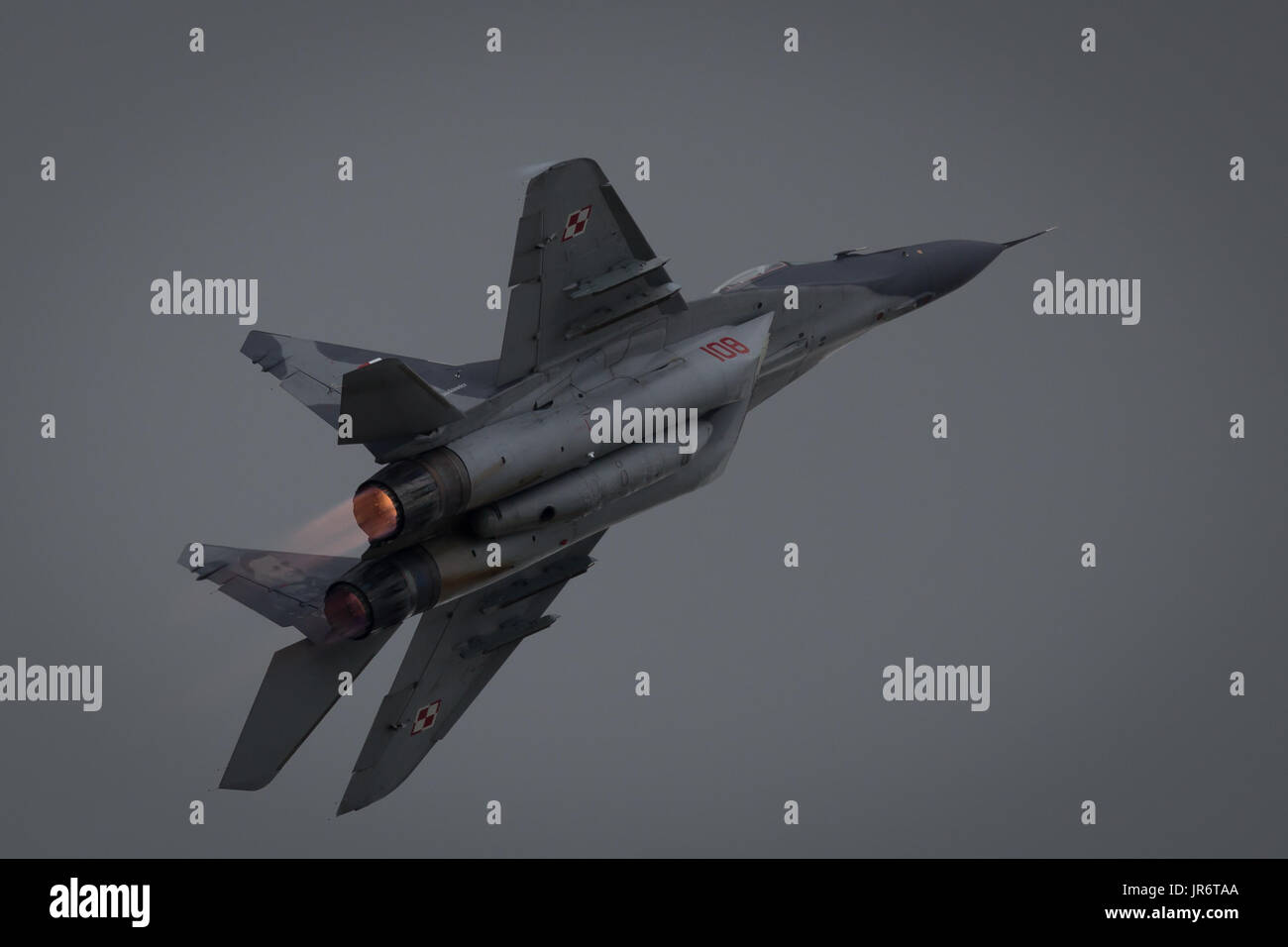 Fairford, Gloucestershire, UK - July 10th, 2016: Ex-Russian Soviet Cold War Polish Republic Mikoyan MiG-29 Fulcrum Stock Photo