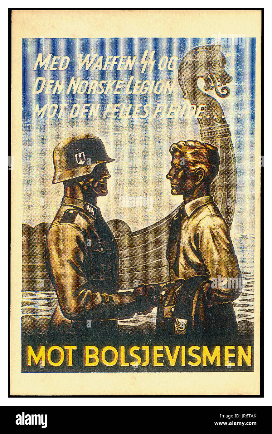1940's Waffen SS Propaganda poster WW2 Norway: 6,000 to 15,000 men in  Volunteer Legion Norway  5th SS Panzer Division Wiking 6th SS Mountain Division Nord SS-Skijeger-Bataljon Norge 11th SS Volunteer Panzergre to fight off advancing Russian Military - Stock Image