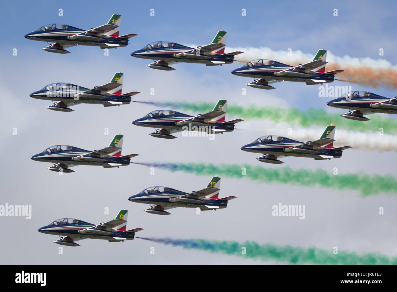 Fairford, Gloucestershire, UK - July 10th, 2016: The Italian Air Force Frecce Tricolori Display Team perform at Stock Photo