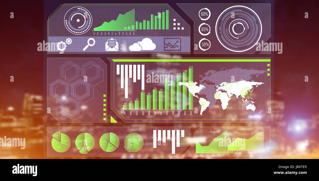 Financial consulting and analytics concept with infographs on screen and cityscape at background - Stock Image