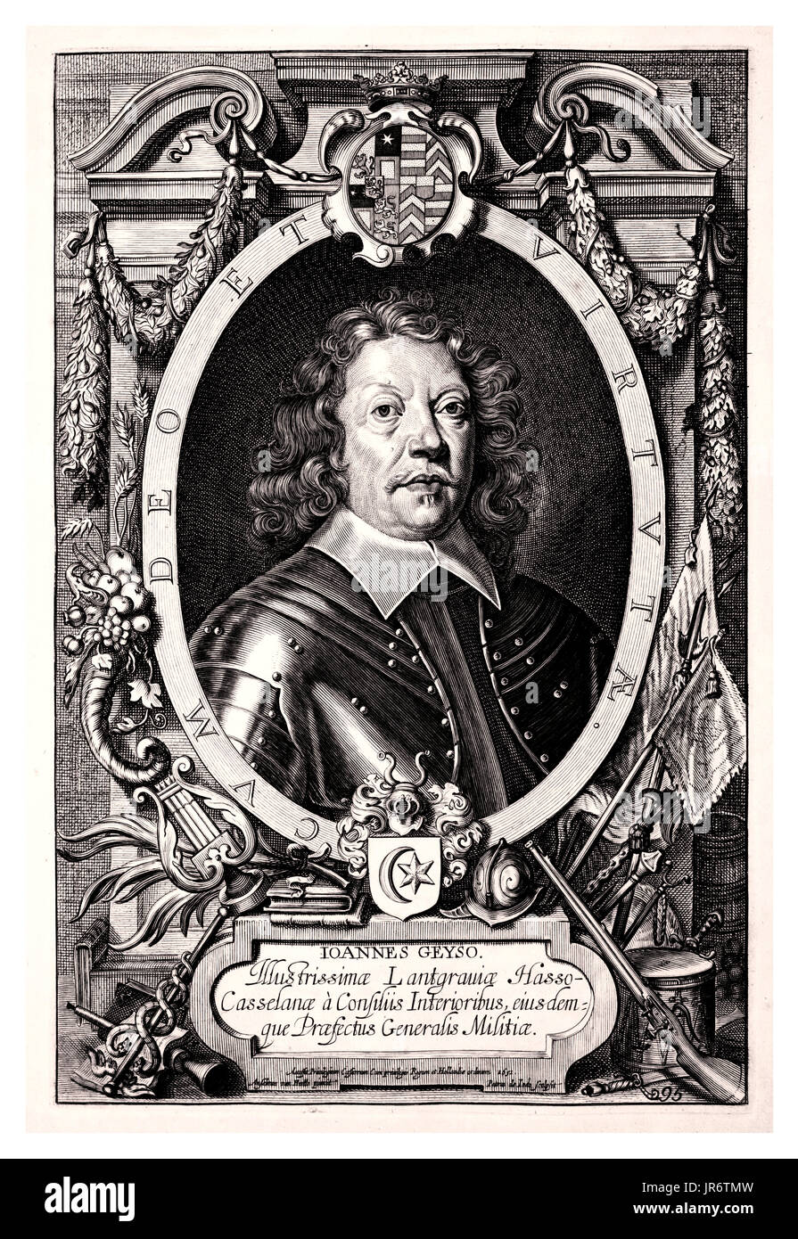 Johann von Geyso (1593 – 1661) a German nobleman and General-Lieutenant, who fought during the course of the Thirty Years' War. After studying in a Dutch military academy, Geyso fought as a mercenary in the armies of Sweden, Bohemia, Denmark and the German Protestant Union. In 1628, having gained significant experience in warfare he returned to his native Hesse-Kassel which he served until the end of the Thirty Years' War, reaching the rank of commander in chief of the Langraviate's forces and becoming ennobled. - Stock Image