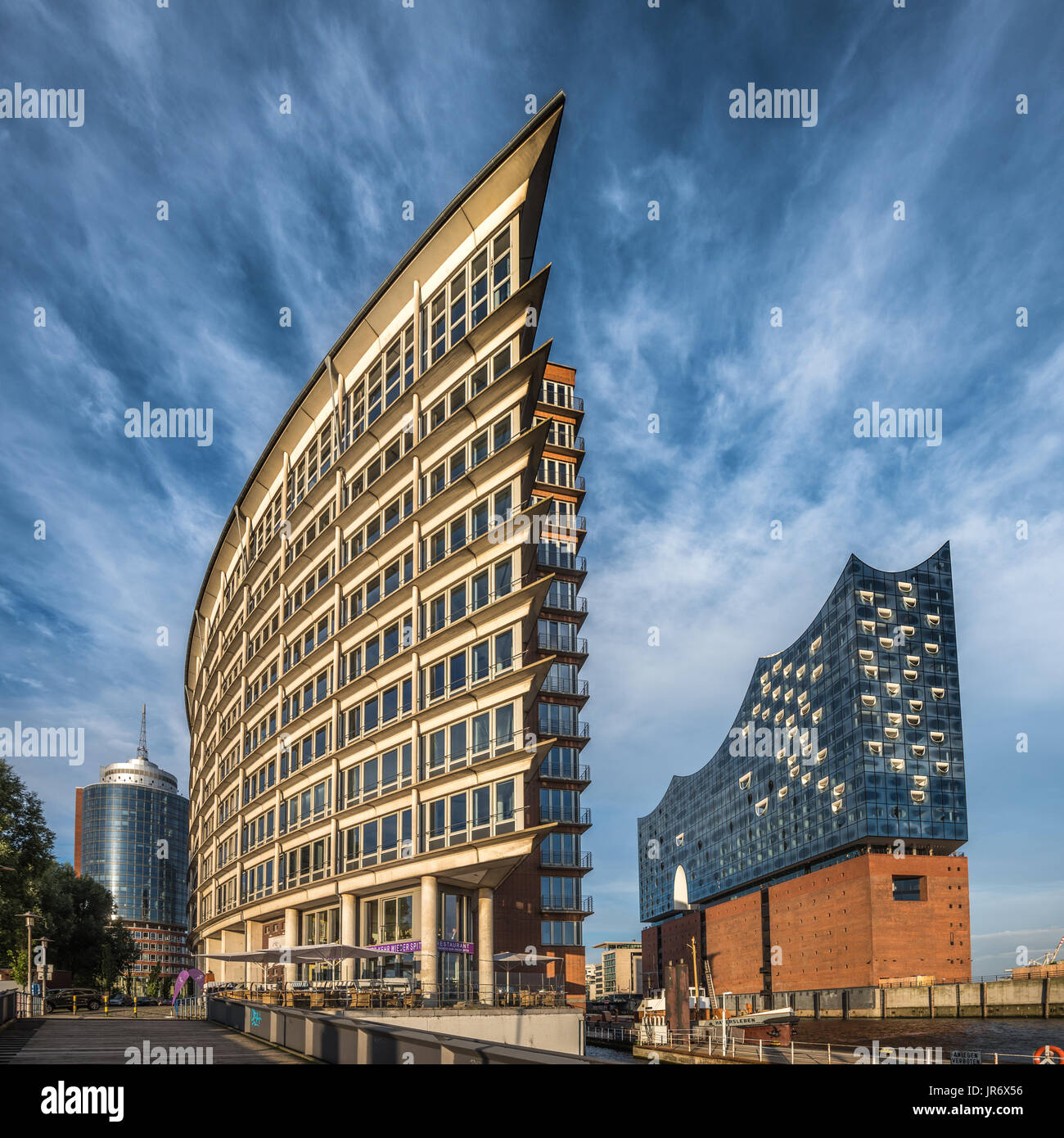 The Hafen City quarter and Elbe Philharmonic Hall in Hamburg, Germany - Stock Image
