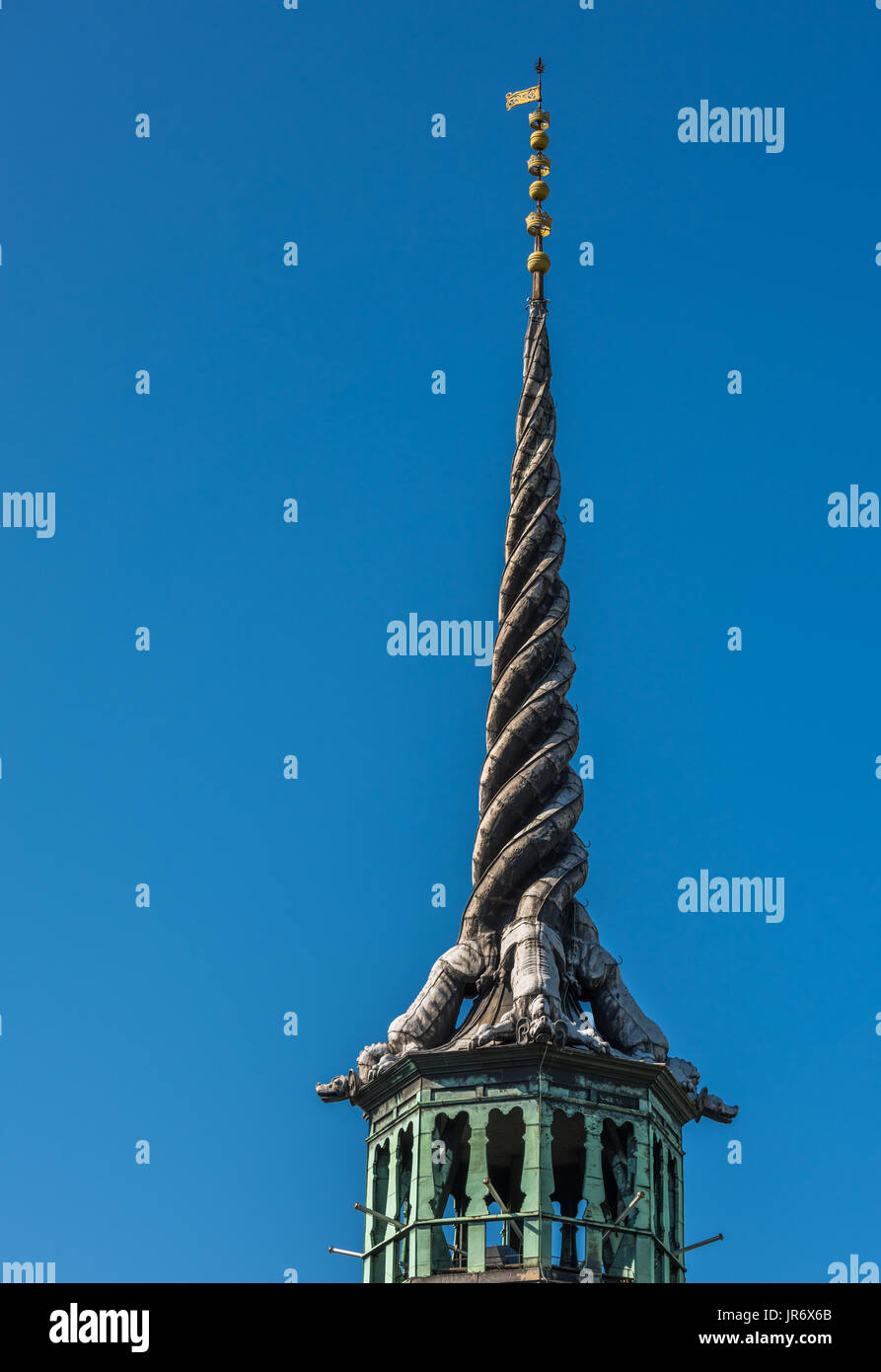 The spire of Borsen, Old Stock Exchange Building in Copenhagen, Denmark Stock Photo