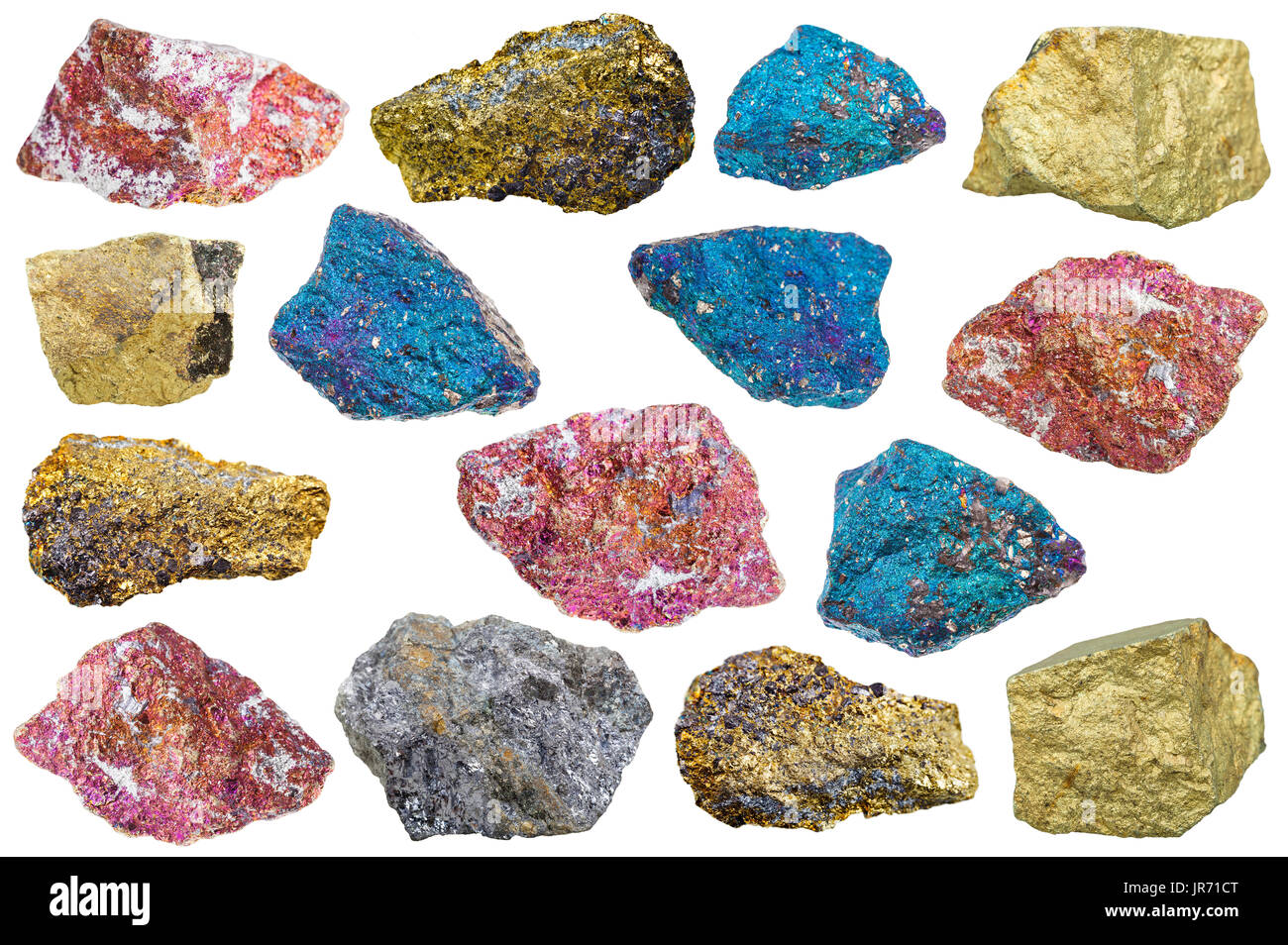 collection of various chalcopyrite (copper pyrite) rocks and minerals isolated on white background - Stock Image