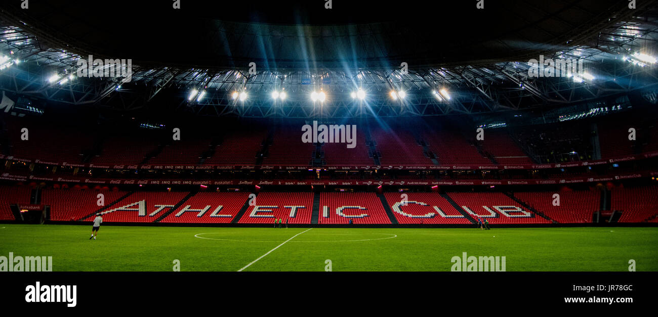 Bilbao, Spain. 3th August, 2017. San Mames stadium after the football match of 2nd leg of hird qualifying round of 2017/2018 UEFA Europa League between Athletic Club and FC Dinamo Bucuresti at San Mames Stadium on August 3, 2017 in Bilbao, Spain. ©David Gato/Alamy Live News - Stock Image