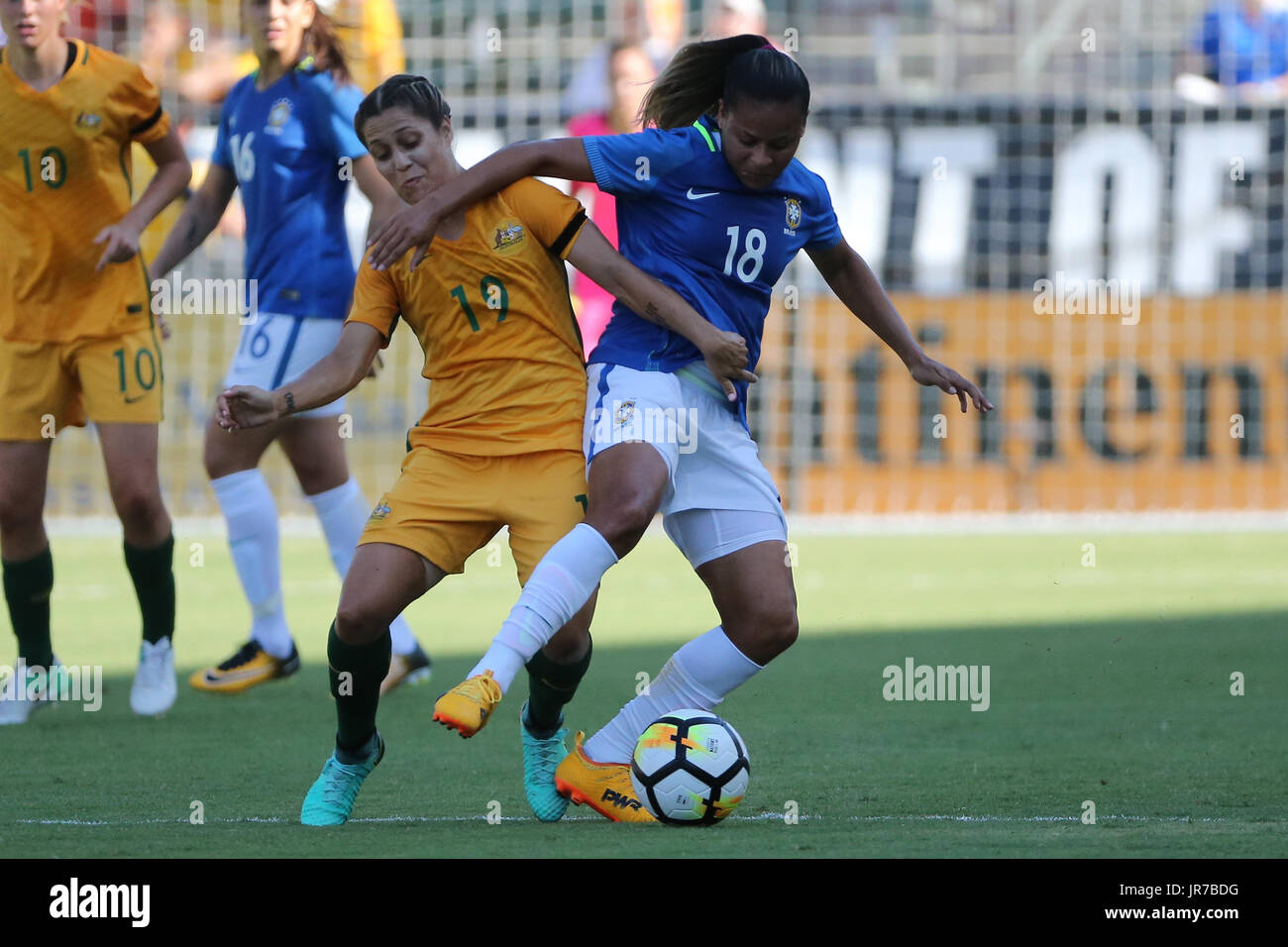 August 3, 2017: Brazil midfielder Fran (18) and Australia midfielder Katrina Gorry (19) both work to gain possession of the ball in the game between the Australia and Brazil, Tournament of Nations, Stub Hub Center in Carson, CA. USA. Photographer: Peter Joneleit - Stock Image