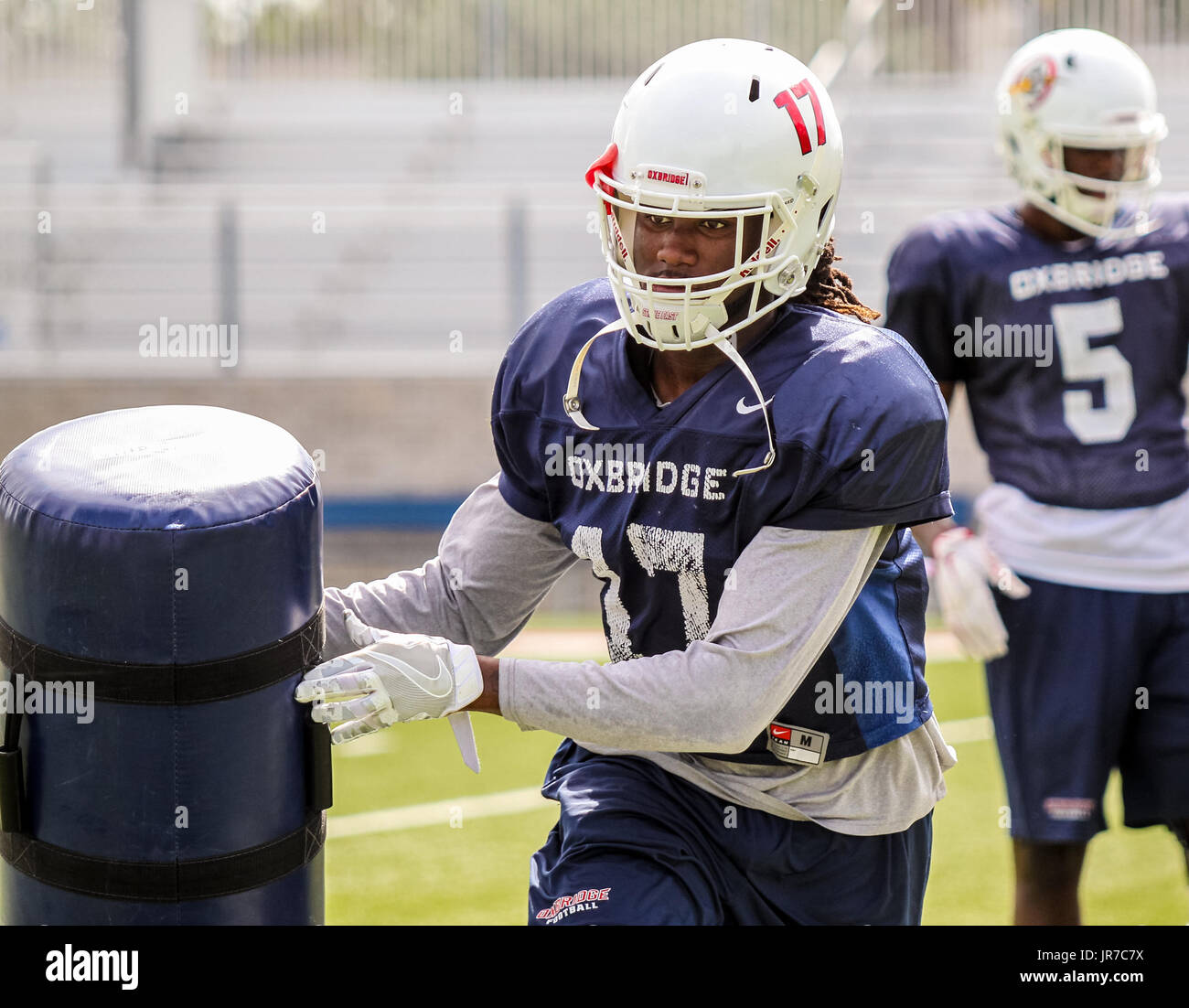 August 3, 2017 - Florida, U.S. - Oxbridge Academy's C.J. Smith participates in practice in West Palm Beach on August 3, 2017. (Credit Image: © Richard Graulich/The Palm Beach Post via ZUMA Wire) - Stock Image