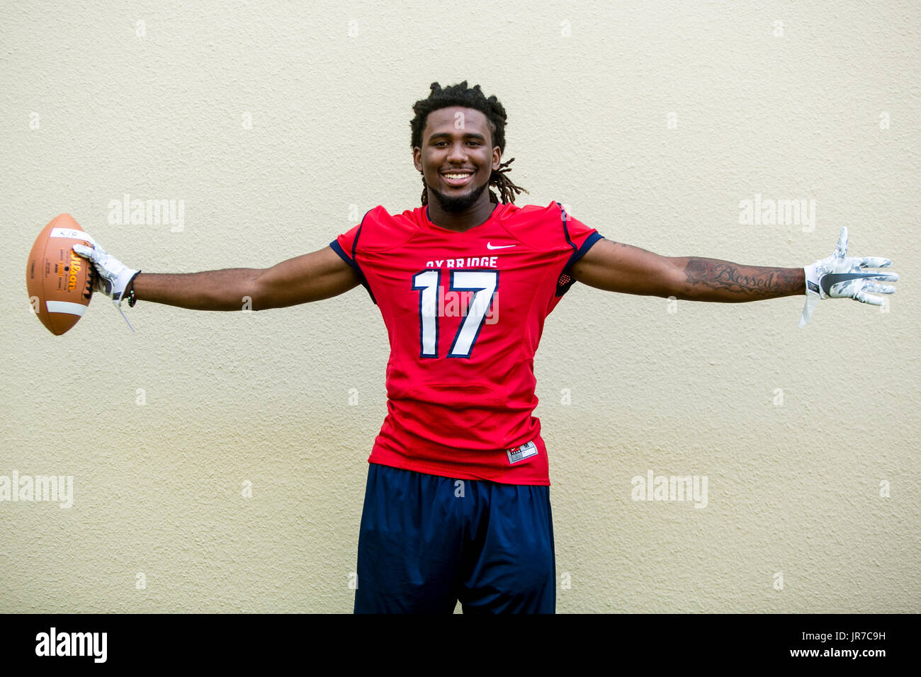 August 3, 2017 - Florida, U.S. - Oxbridge Academy Super 11 player C.J. Smith in West Palm Beach on August 3, 2017. (Credit Image: © Richard Graulich/The Palm Beach Post via ZUMA Wire) - Stock Image