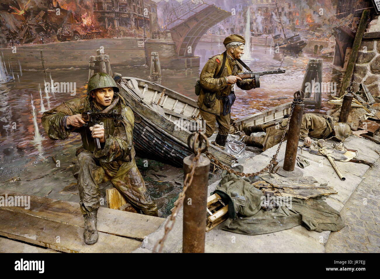 Kaliningrad Region, Russia. 3rd Aug, 2017. Detail of a 3-dimensional panoramic exhibition titled 'Konigsberg 1945: the Final Assault' at the Kaliningrad Region Museum of History and Arts; the 360-degree display, which depicts the April 1945 assault by the Red Army on the city of Konigsberg in WWII, is an artwork by the Nevsky Batalist team led by Dmitry Poshtarenko. Credit: Vitaly Nevar/TASS/Alamy Live News - Stock Image