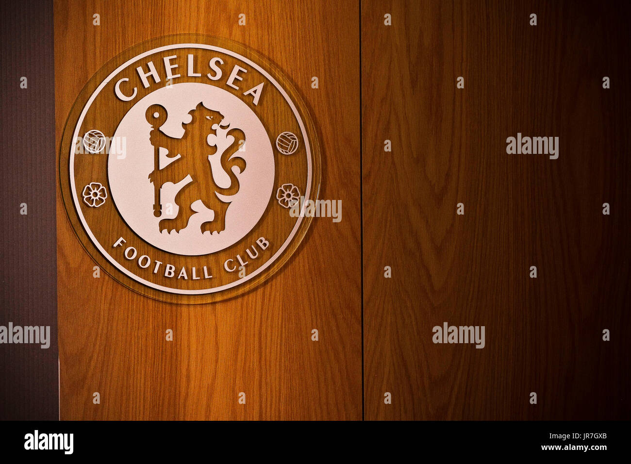 Cobham, Surrey, UK 4th August,2017  Chelsea logo  at Chelsea's training facility - Stock Image