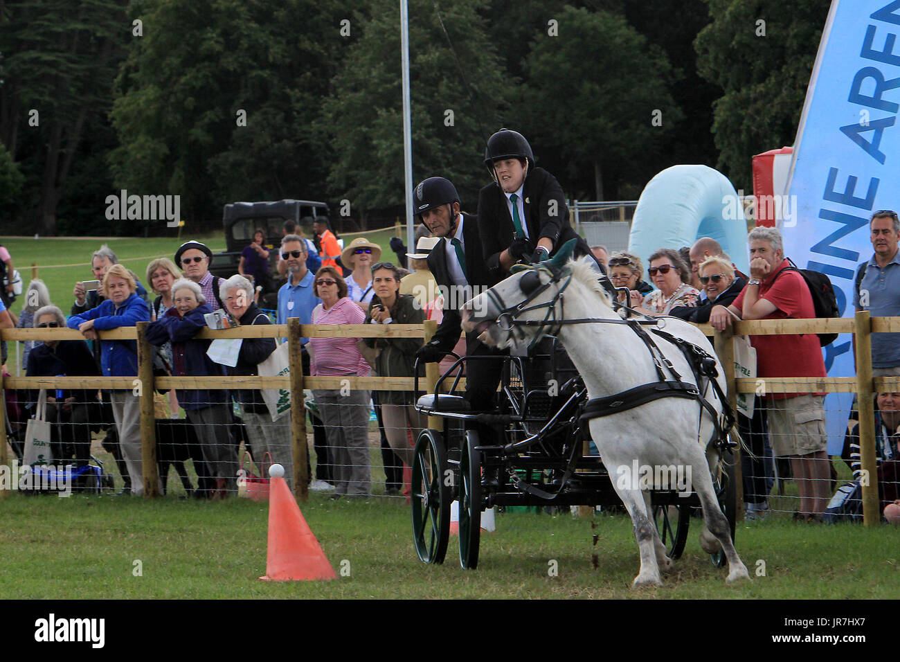 Blenheim Palace, Woodstock, UK. 4th Aug, 2017. Lucy Foster drives A touch of Frost through the carriage driving course on the second day of Countryfile Live at Blenheim Palace Picture: Ric Mellis 4/8/2017 Credit: Ric Mellis/Alamy Live News - Stock Image