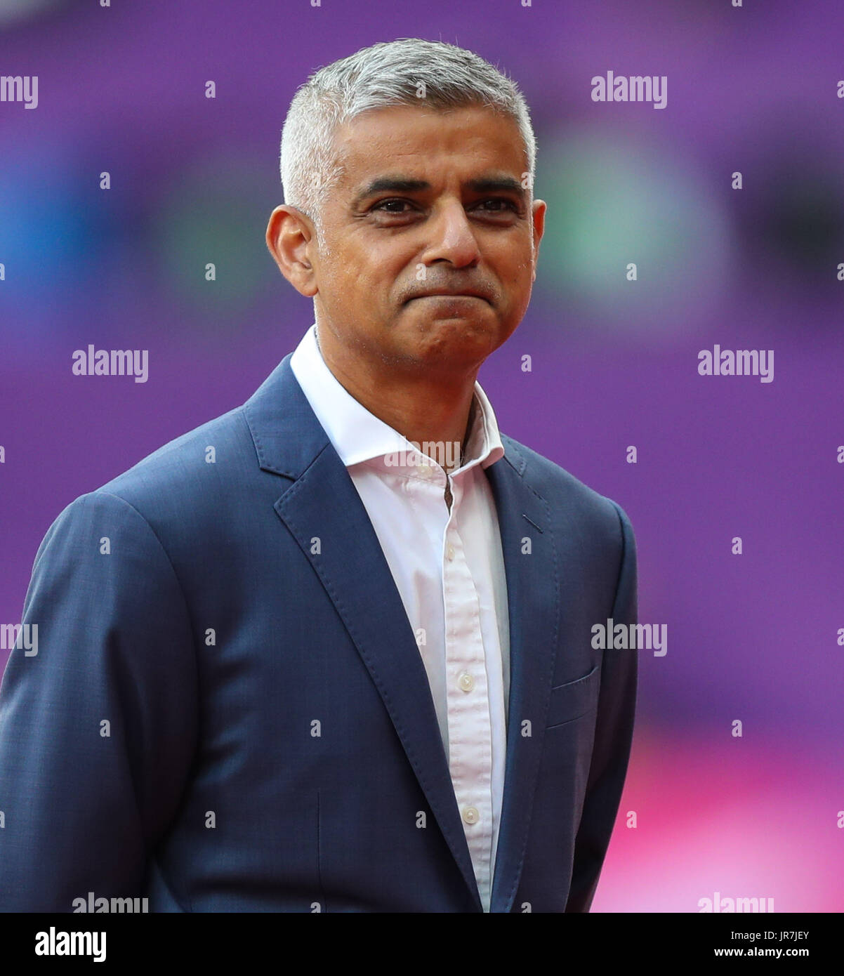 London, UK. 04th Aug, 2017. London, 2017-August-04. Mayor of London Sadiq Khan at the opening ceremony of the IAAF World Championships London 2017. Credit: Paul Davey/Alamy Live News - Stock Image