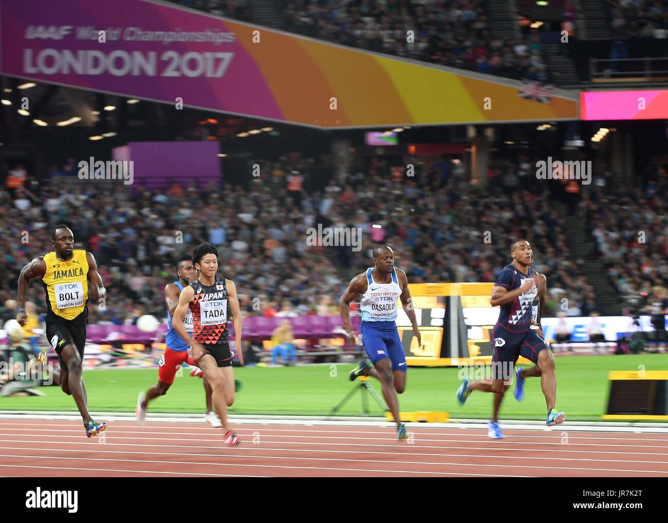 Stratford, UK. 4th Aug, 2017. Usain Bolt (JAM, left) and James Dasaolu GBR, 2nd right) in the mens 100m heats. IAAF Stock Photo