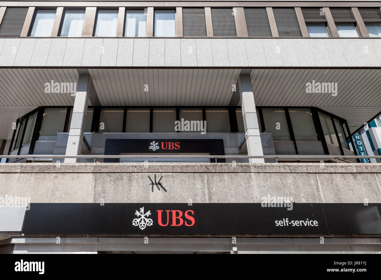 GENEVA, SWITZERLAND - JUNE 19, 2017: Local branch of UBS (Union Bank Switerland) in Geneva. UBS is one of the main banks of the country, famous for it - Stock Image