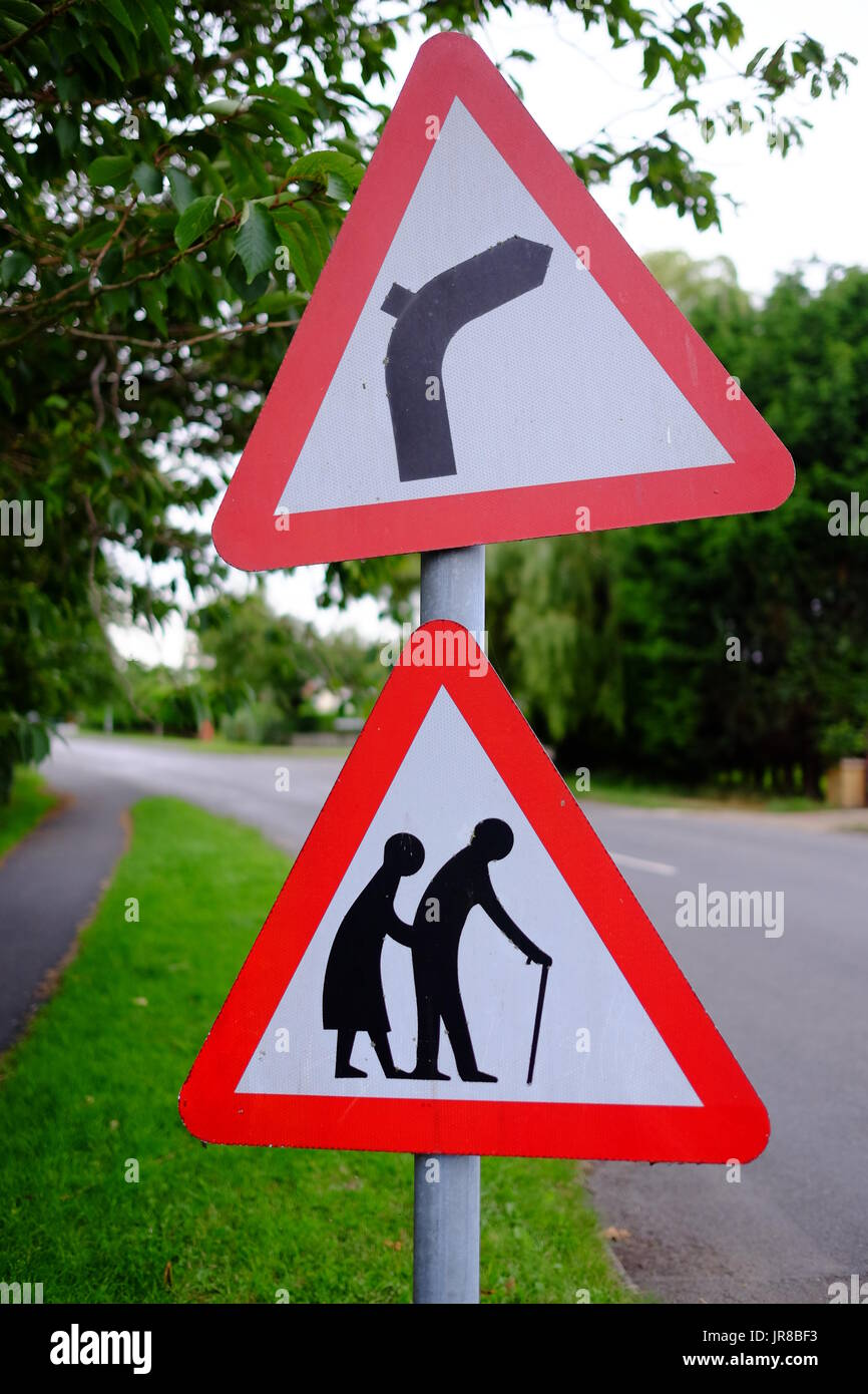Road safety signs for elderly people in Lincolnshire - Stock Image
