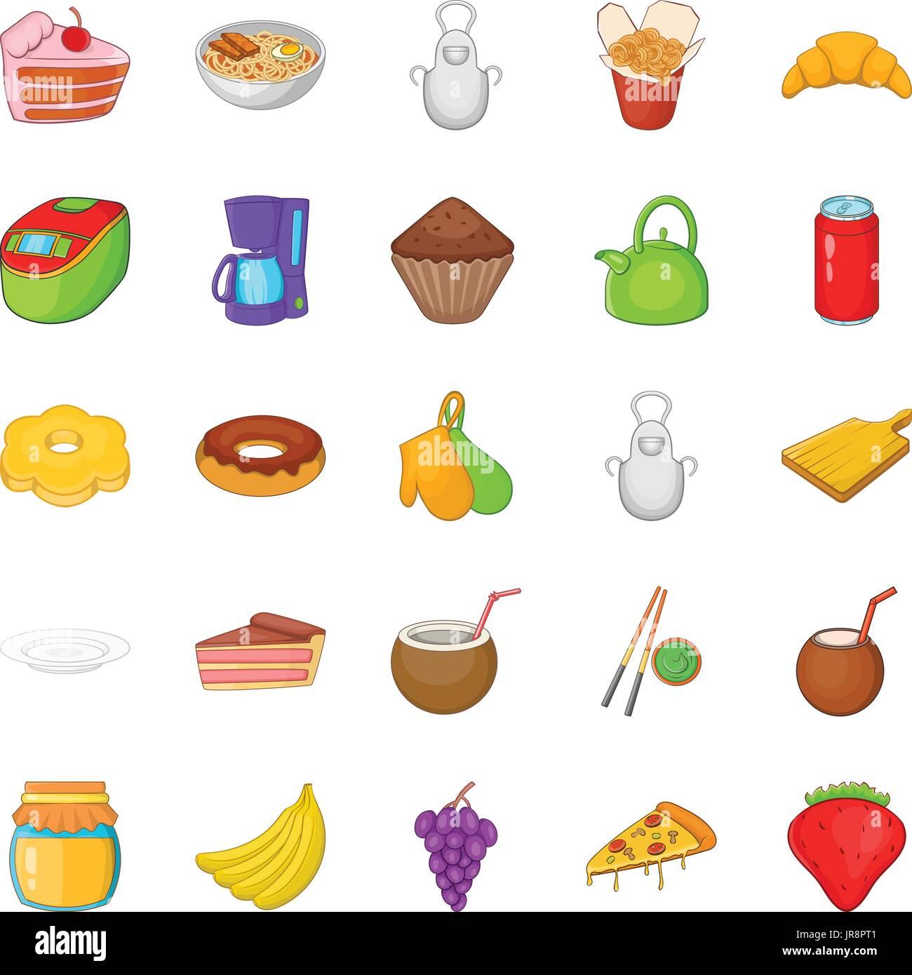 Nosh icons set, cartoon style - Stock Image