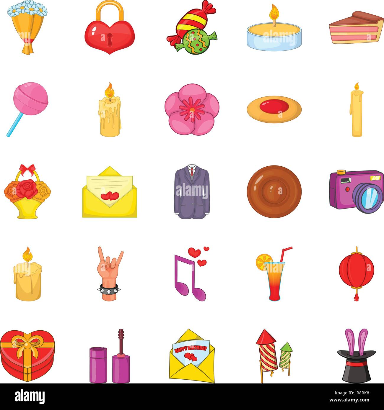 Revels icons set, cartoon style - Stock Image