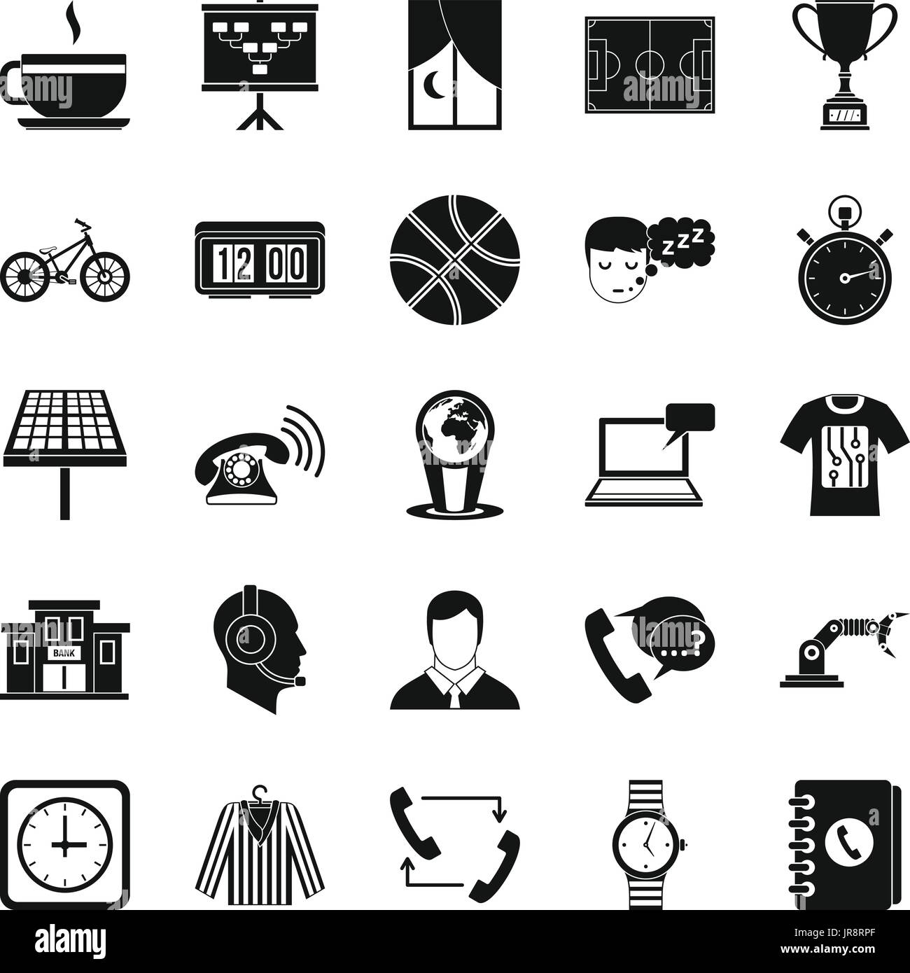 Timepiece icons set, simple style - Stock Image