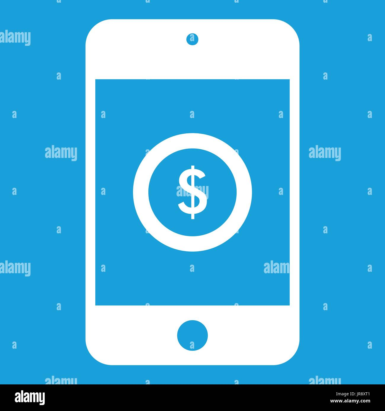 Smartphone with dollar sign on display icon white - Stock Vector