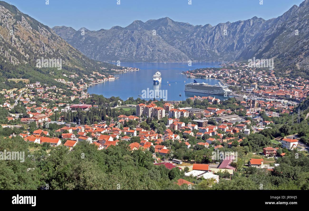KOTOR, MONTENEGRO - JUNE 20, 2017: Kotor Bay with cruise liners 'Royal Princess' and 'Norwegian Star' in Montenegro on June 20, 2017. Kotor visited 48 - Stock Image