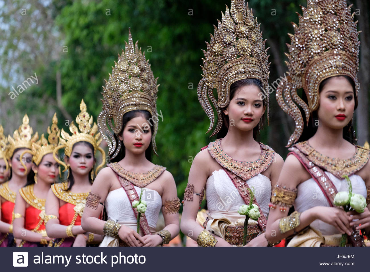 5ff602648 Female Thai dancers dressed in traditional 'apsara' costumes at the main  ceremony of Phanom Rung Festival 2017, Phanom Rung Historical Park, Thailand .