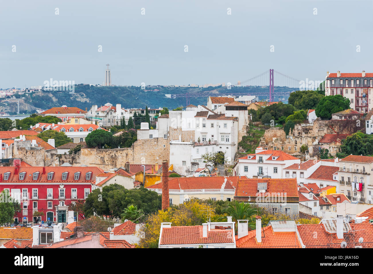 Lisbon orange roofs aerial view  - Stock Image
