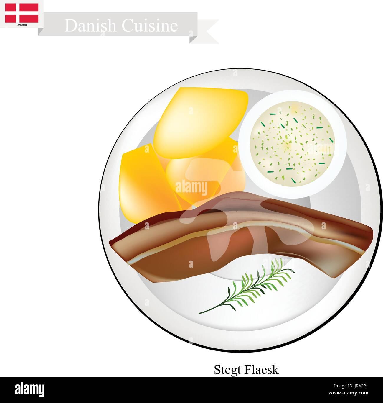 danish cuisine illustration of stegt flaesk or traditional fried pork JRA2P1 pork belly stock vector images alamy