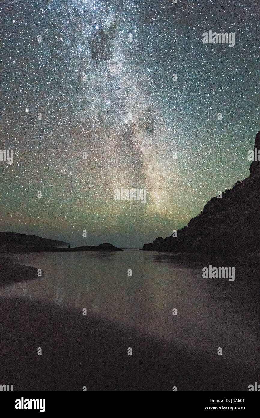 Beautiful clear sky showing the Milky Way above the beach and cliffs of Princetown, Victoria, Australia. - Stock Image