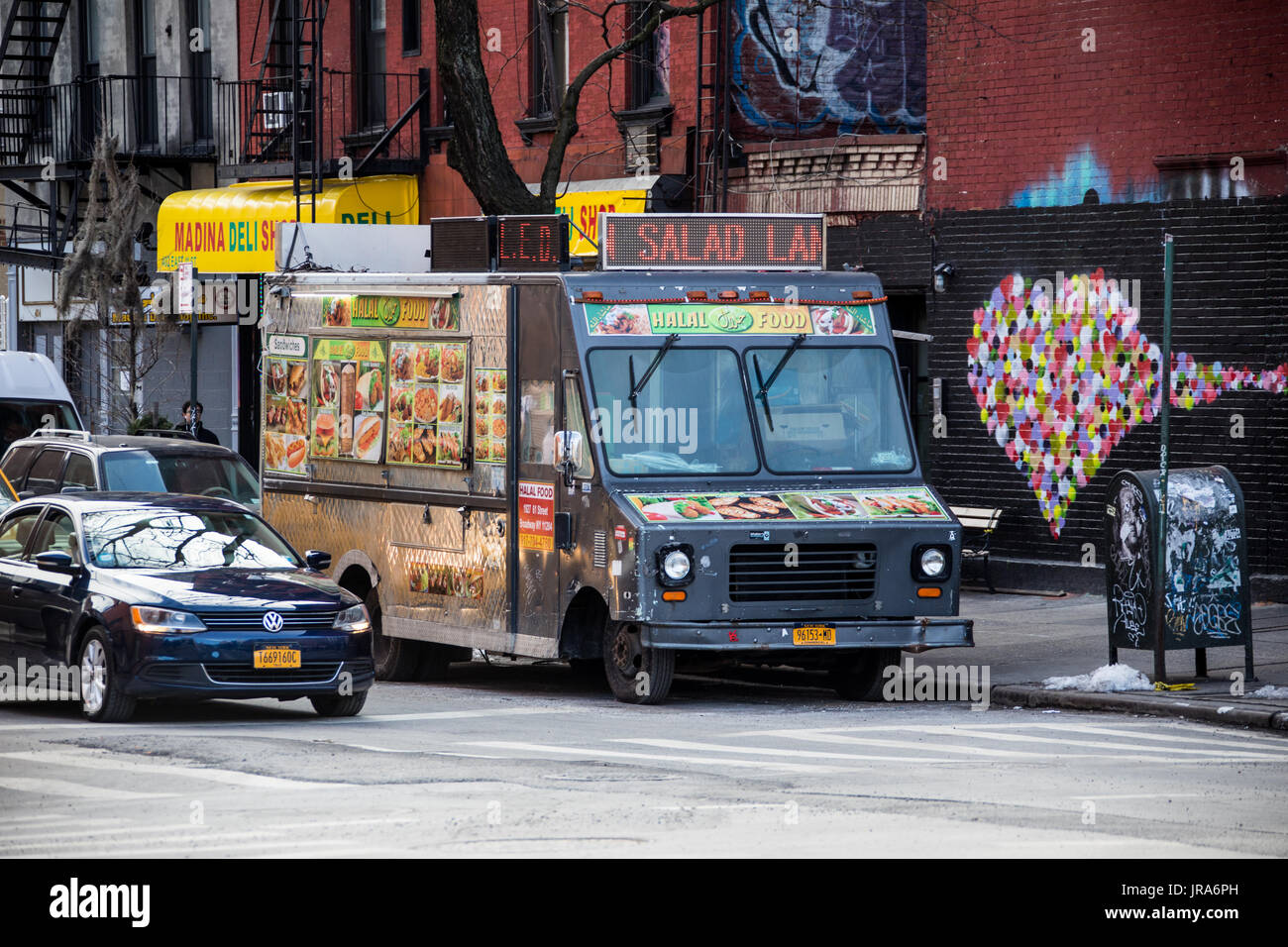 Halal food truck in the East Village, New York CIty, USA