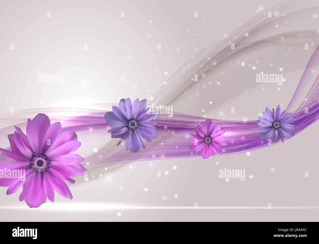 Abstract Anemone Flower Realistic Vector Frame Background - Stock Vector