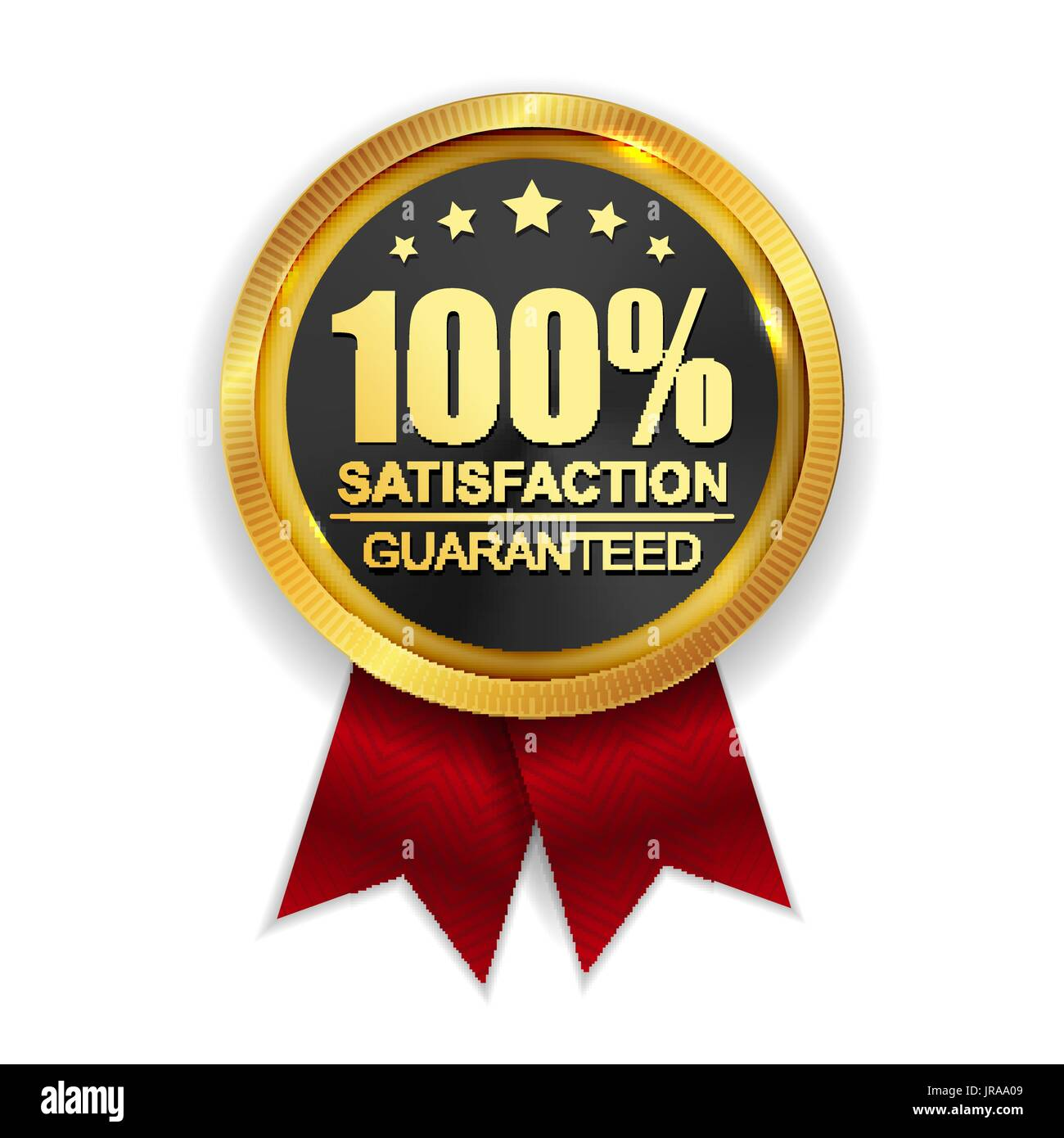 100 satisfaction guaranteed golden medal label icon seal sign stock rh alamy com 100 satisfaction guarantee logo free 100 satisfaction guarantee logo