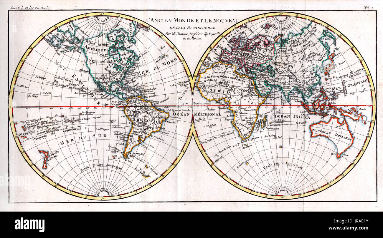 1780 bonne antique map of world in hemispheres showing the 1780 bonne antique map of world in hemispheres showing the continents of north america south america asia europe africa and australia gumiabroncs Gallery