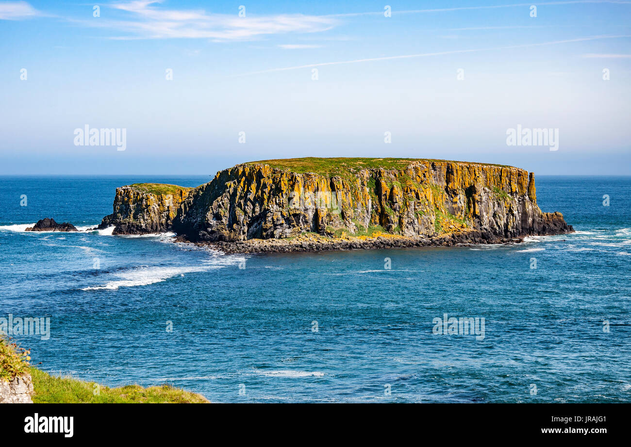 The Sheep Island near Ballintoy, Carrick-a-Rede and Giant's Causeway, North Antrim Coast, County Antrim, Northern Ireland, UK - Stock Image
