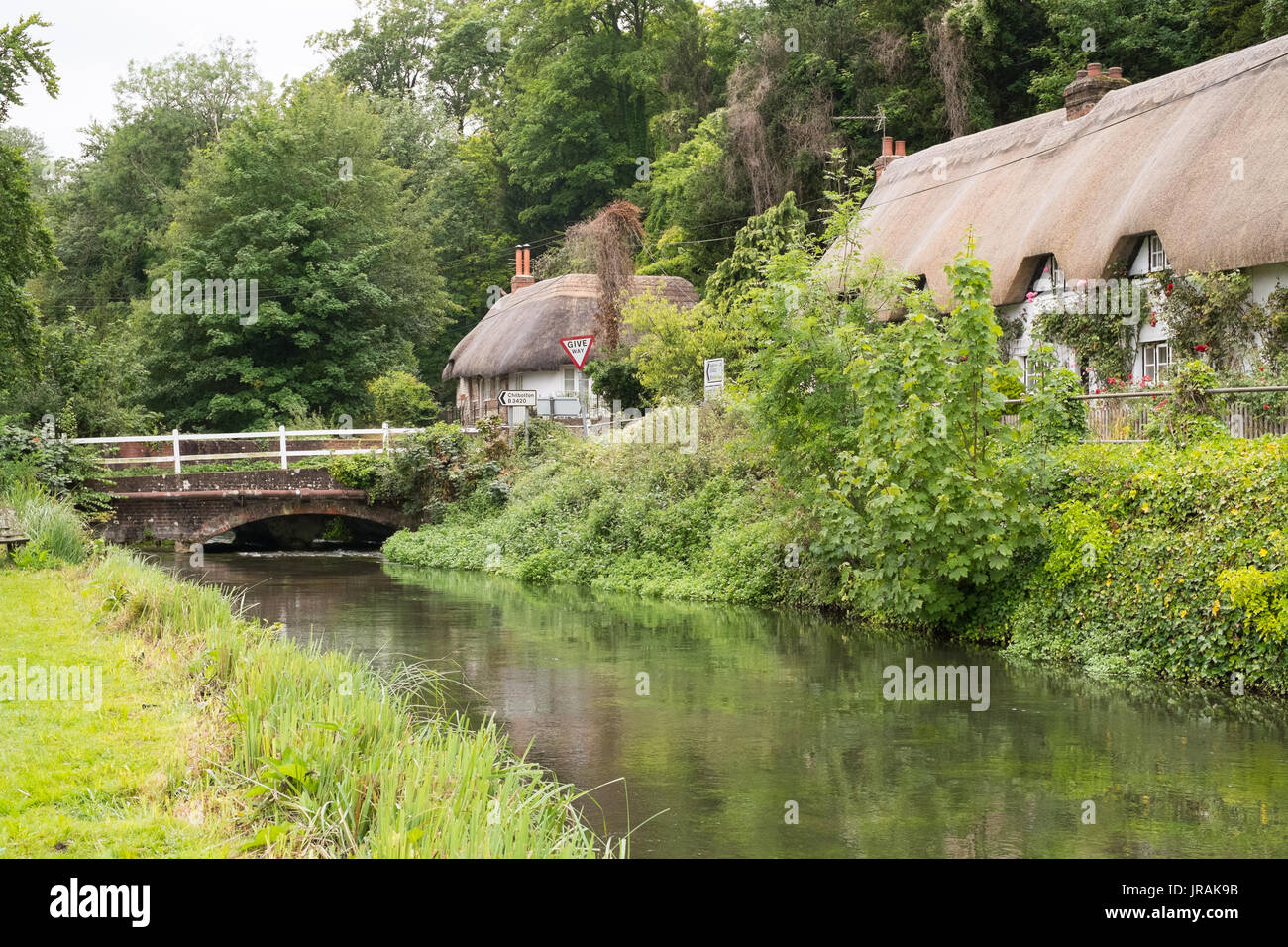 The river Test ,Wherwell trout fishery, Wherwell, Andover, Hampshire, England, United Kingdom. - Stock Image
