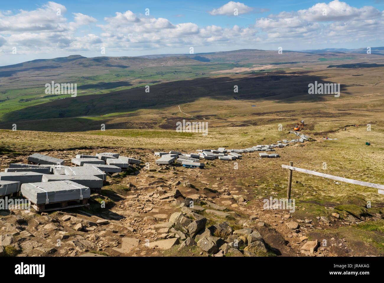 A spring walk in Ribblesdale part of the Yorkshire Dales up to the summit of Pen-Y-Ghent. - Stock Image