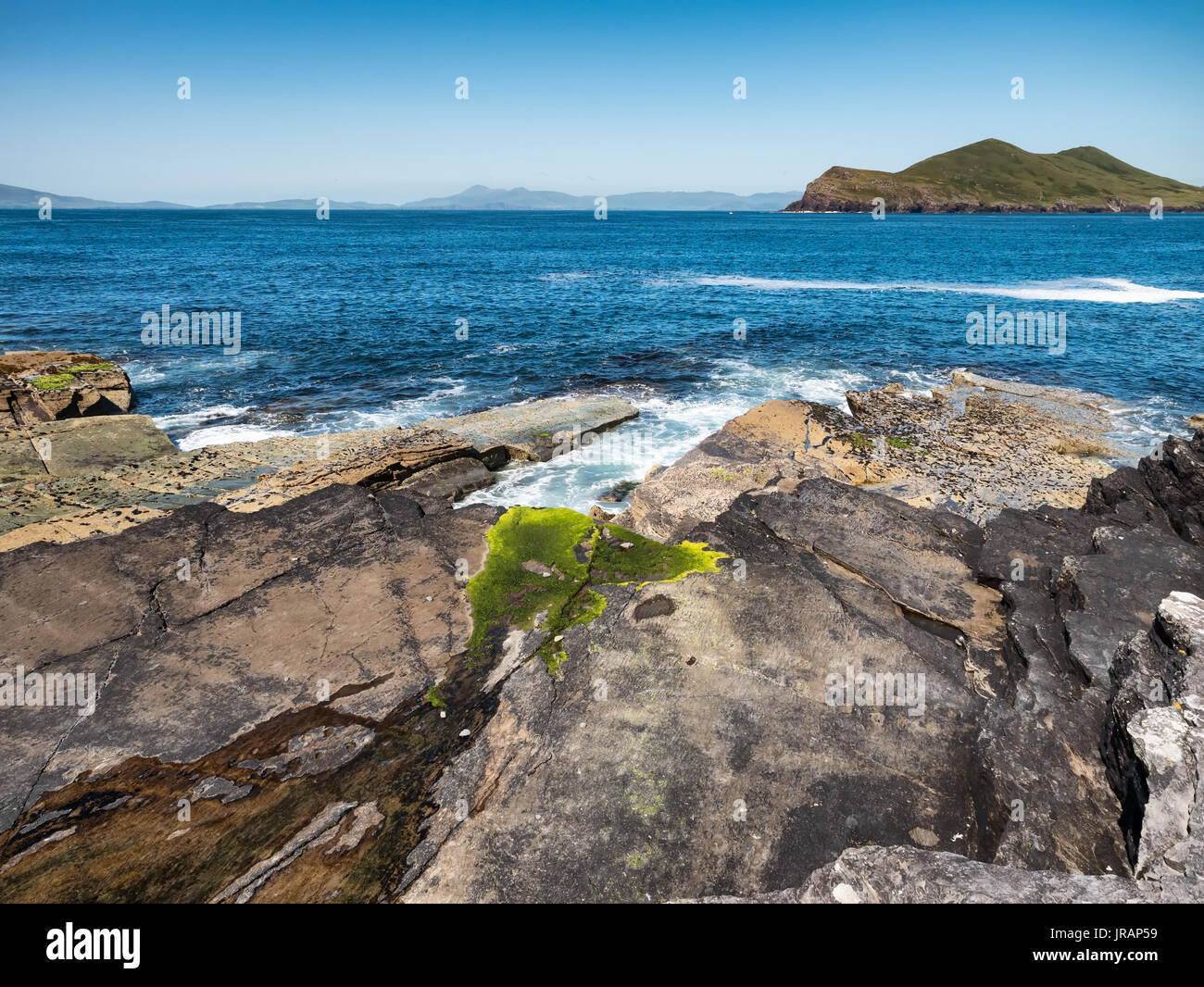 Tetrapod Tracks on Valentia Island in Western Ireland - Stock Image