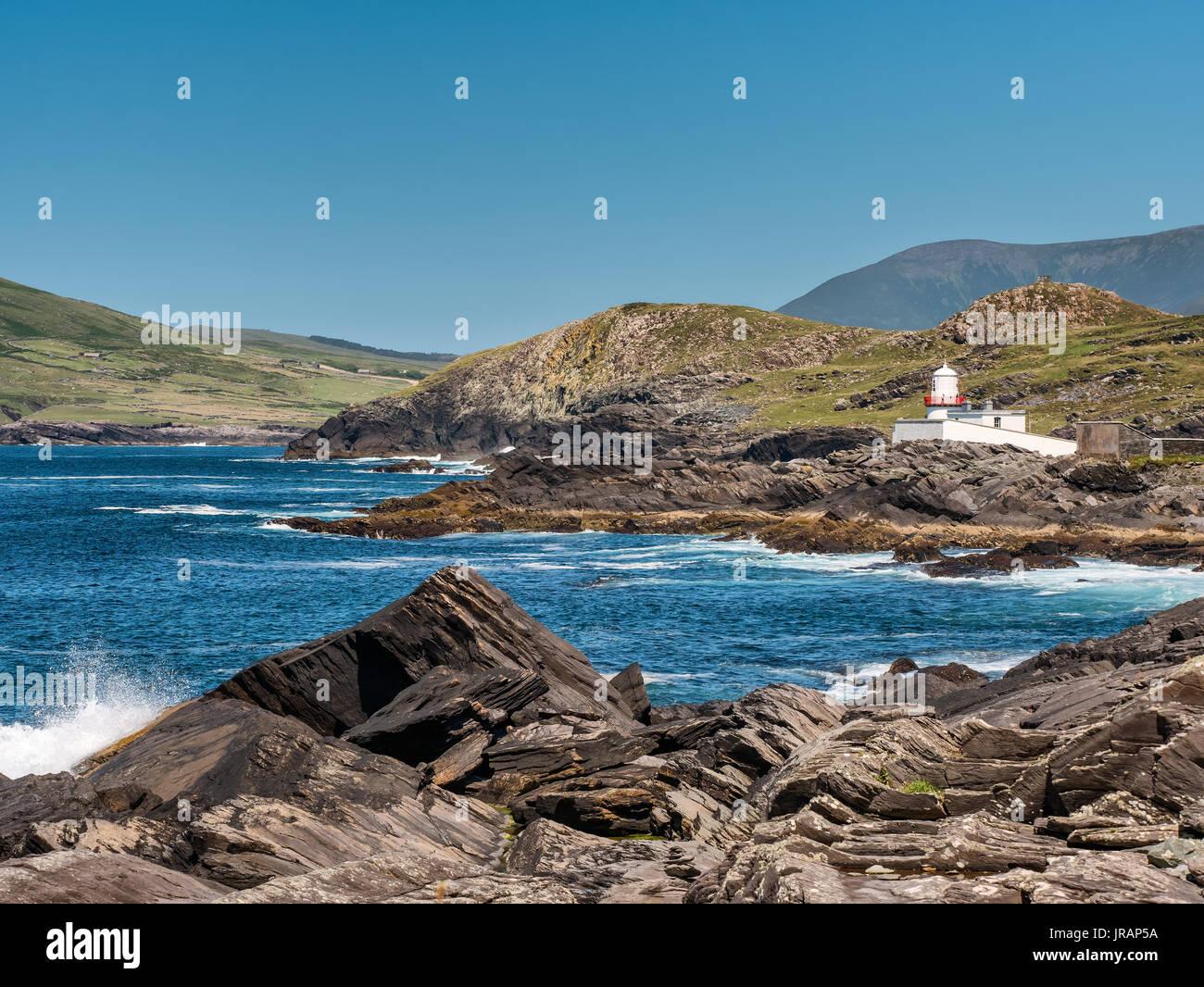 Valentia Island Lighthouse in far Western Ireland - Stock Image