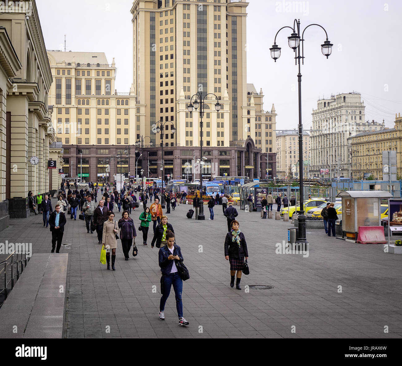 Moscow, Russia - Oct 3, 2016. People on Old Arbat Street at sunny day in Moscow, Russia. Moscow is the capital and most populous city of Russia, with  - Stock Image