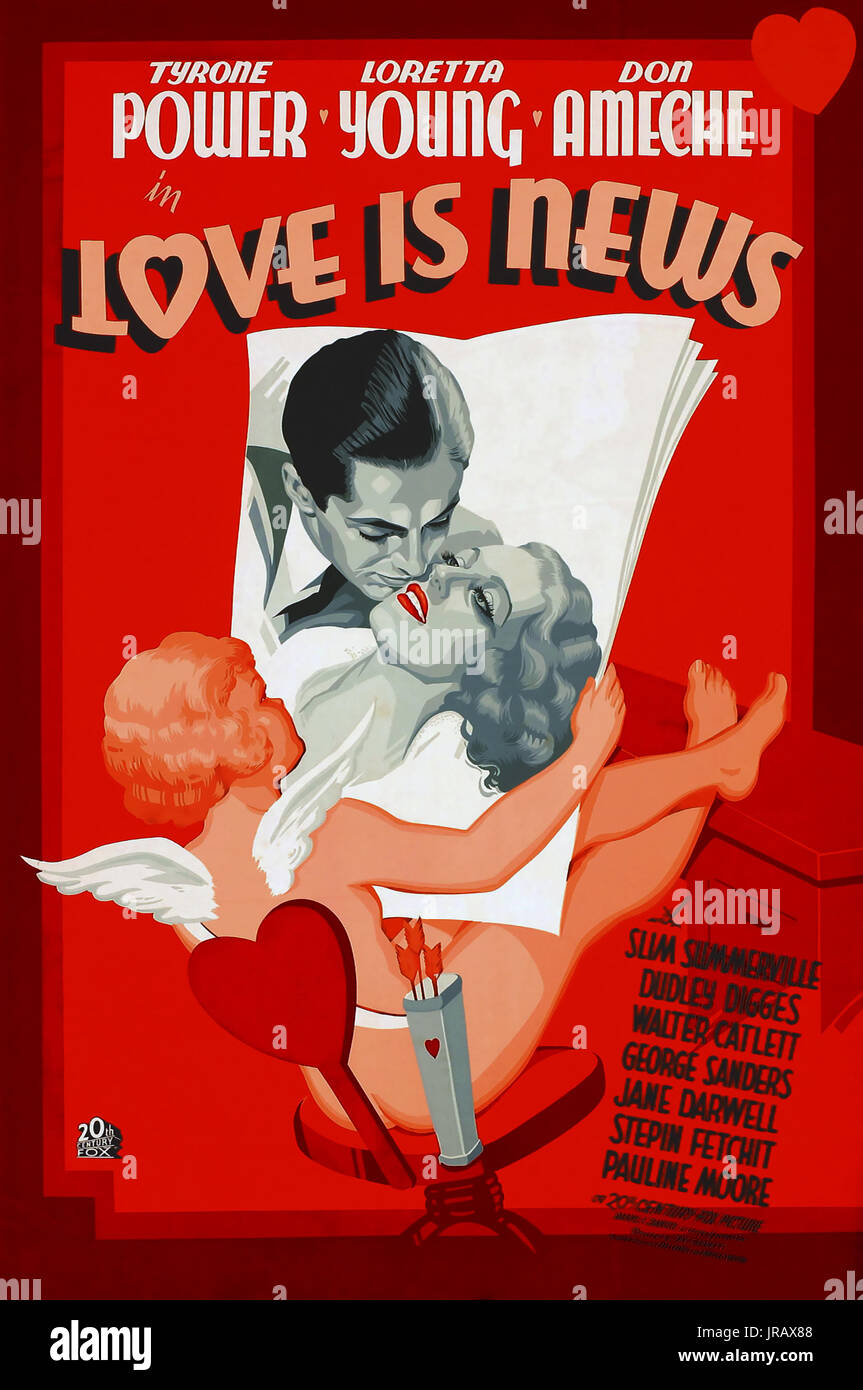 LOVE IS NEWS 1937 20th Century Fox film with Loretta Young and Tyrone Power - Stock Image