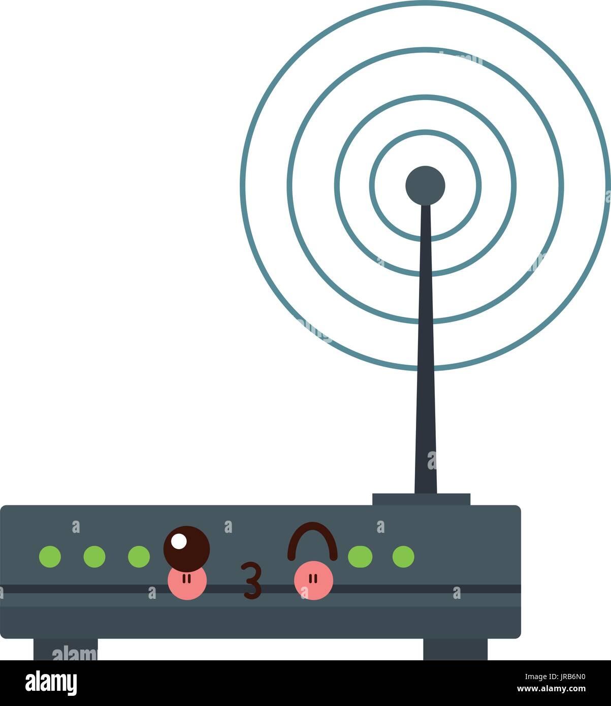 kawaii wireless network router switch modern digital broadband - Stock Image