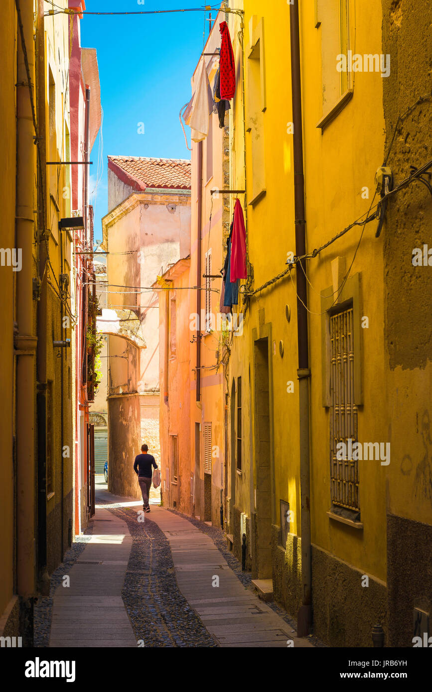 Sassari Sardinia old town, a typically narrow street in the old town neighbourhood of Sassari, Sardinia. - Stock Image