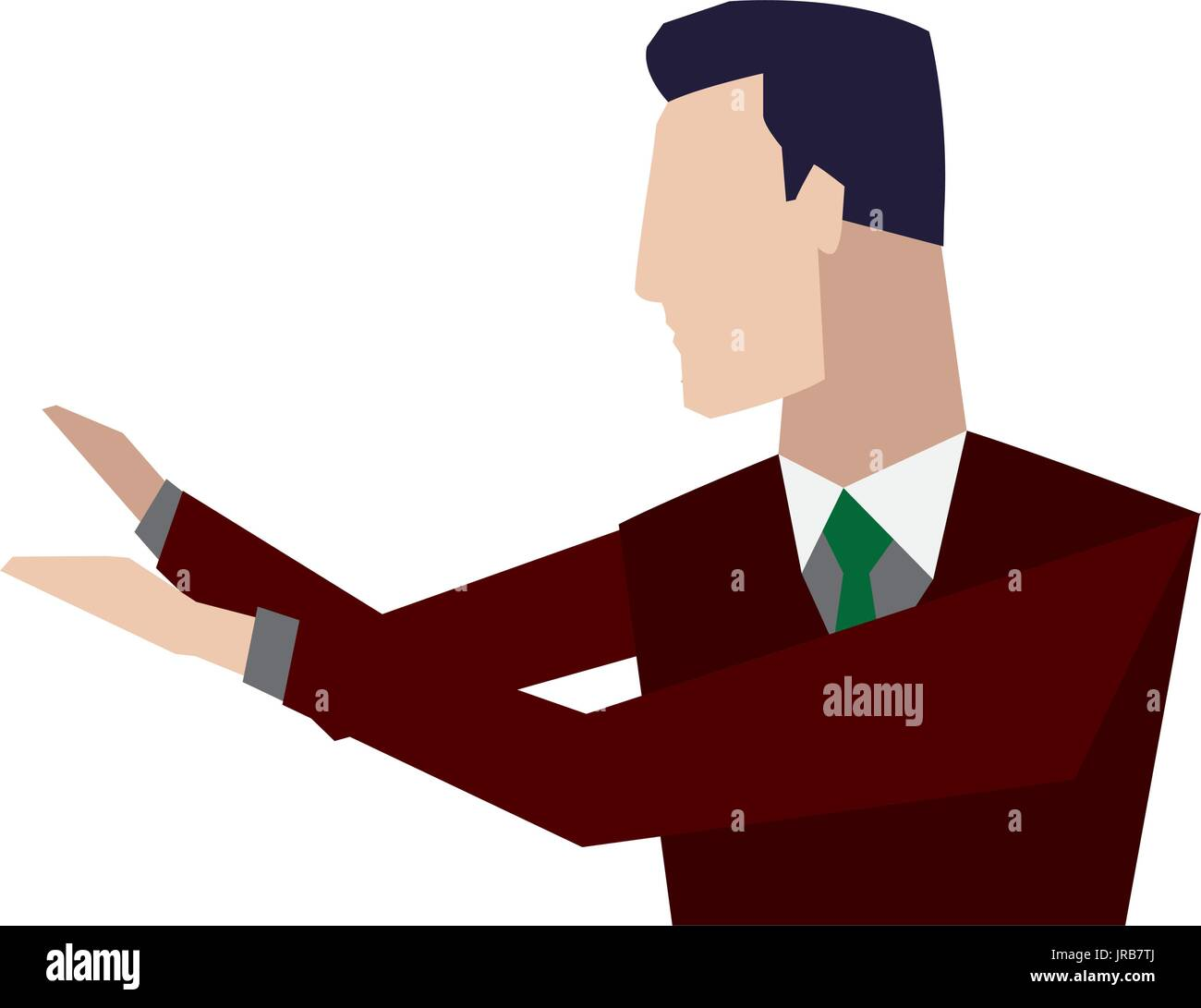 portrait of businessman gesturing shows something - Stock Image