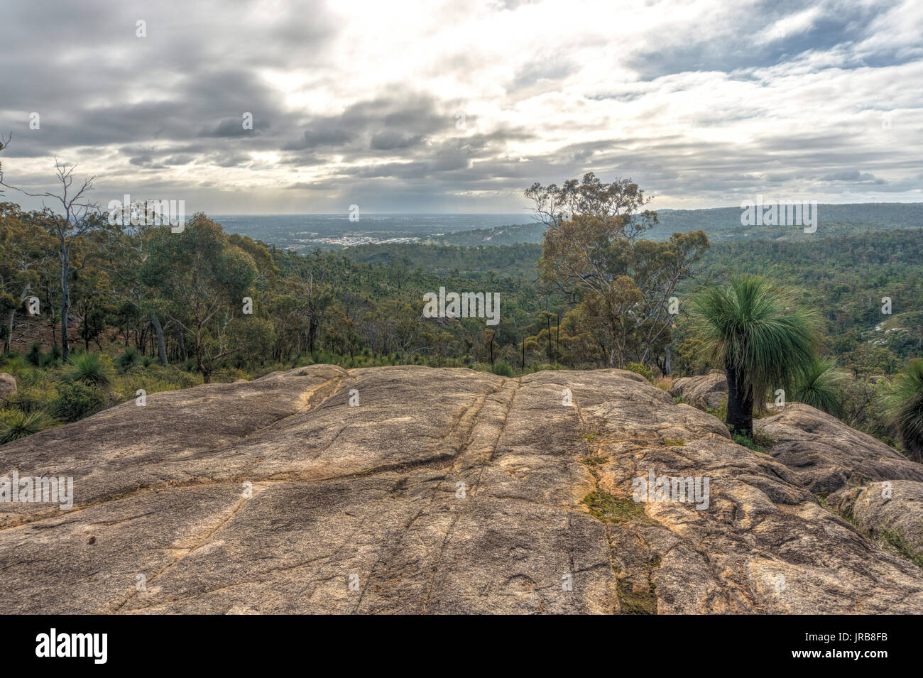 Lookout in John Forrest national park, view towards Perth, Darling range, Western Australia - Stock Image
