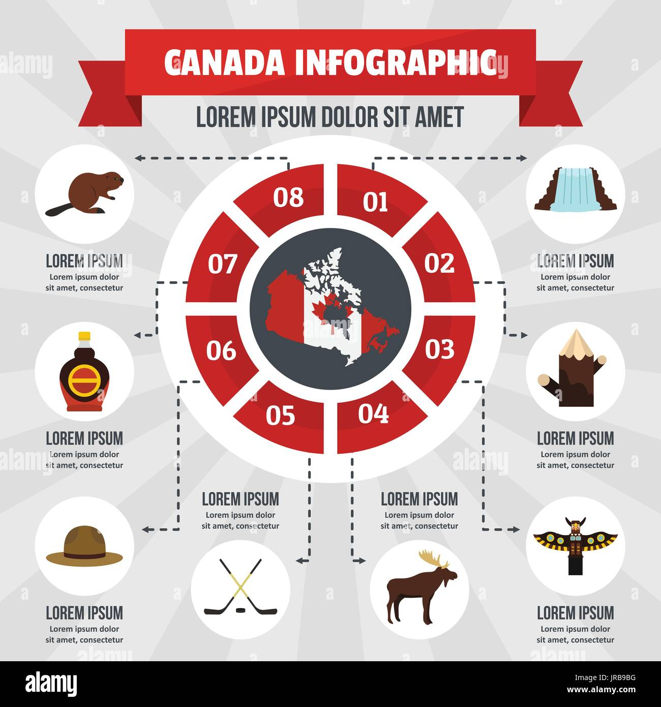 Canada infographic concept, flat style - Stock Image