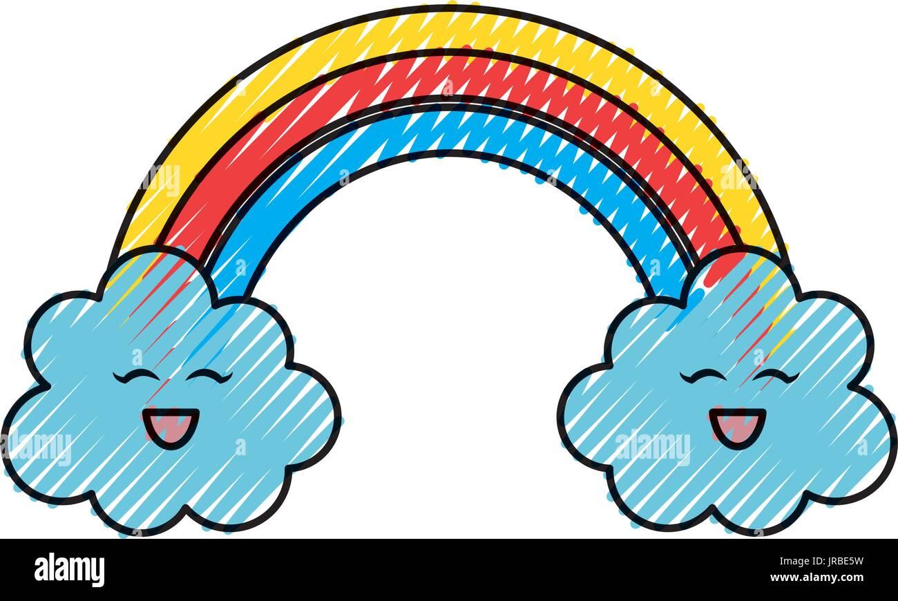Beautiful rainbow cartoon - Stock Vector