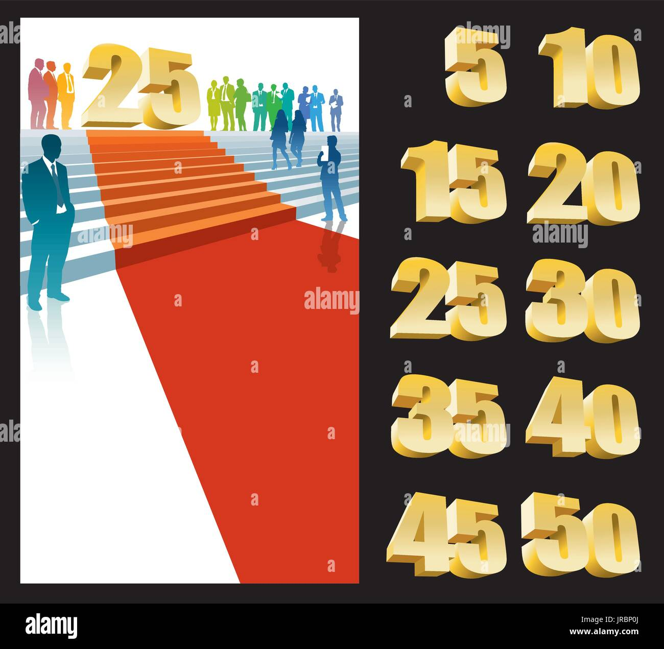 Colorful crowd of businesspeople celebrating twenty-fifth anniversary - Stock Vector