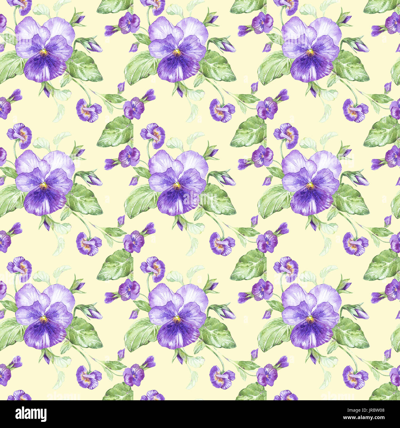 Illustration in watercolor of a pansy flower. Floral card with flowers. Botanical illustration seamless pattern. Stock Photo