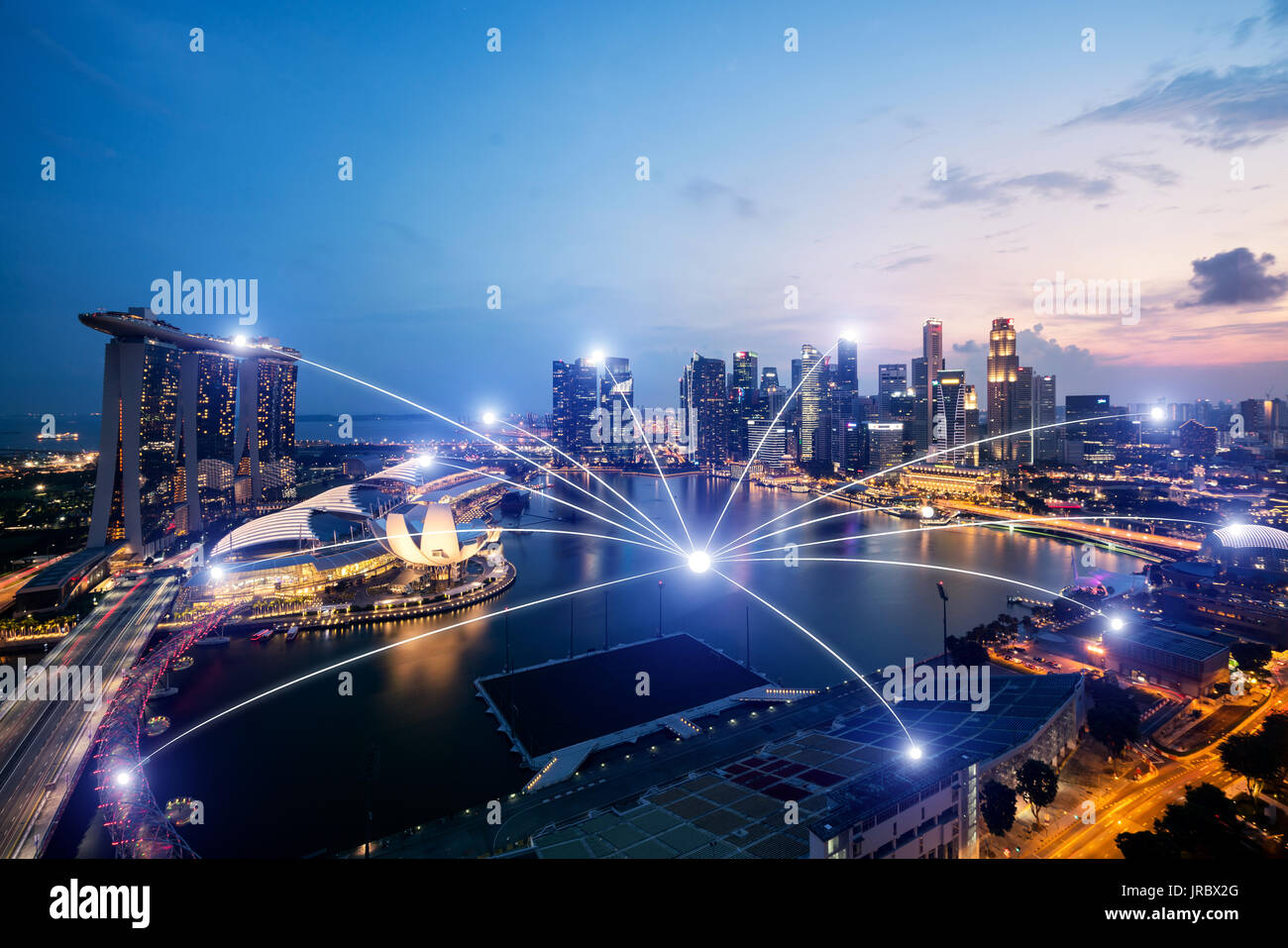 Network business conection system on Singapore smart city scape in background.Network business conection concept - Stock Image